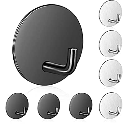 8PCS Adhesive Hooks for Hanging Towels Hook Heavy Duty Stick Hooks Wall Hangers Metal Sticky Hooks for Hanging Key Coat Clothes,Stainless Steel Hooks for Bathroom Kitchen Office Hooks Honsny