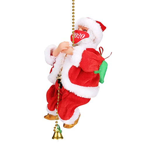 Climbing Rope Santa with Christmas Music, Allnice Christmas Decorations Christmas Tree Ornament Rope-Climbing Santa Claus (Mask Version)