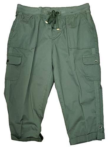 Green Amber Plus Size Cargo Capri Pant - 2X