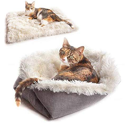 Cama Gato y Perros 2 en 1 Almohadas para Camas para Perros Cojín de Cama para Mascotas Cama para Perros Pequeños Lavable Felpa Sofá de Gatos Muy Suave Cómoda Adecuado para perros gatos