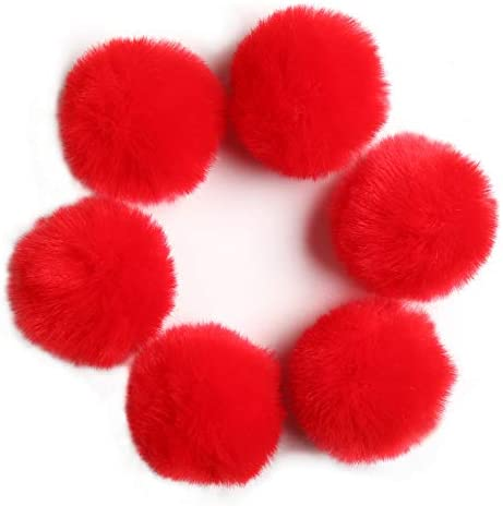 DIY 6pcs 3 5 Inches Faux Fur Pom Pom Soft Faux Pompom Handmade Craft Supply Red product image