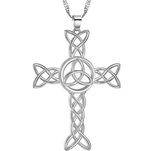 Stainless Steel Celtic Knot Christian Cross Religious Cocktail Party Statement Pendant Necklace (Silver)