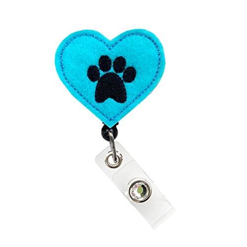Sizzle City Felt Badge Reel, ID Badge Reel, Retractable Badge Clip, Badge Holder (Blue Felt Dog Paw Badge Reel)