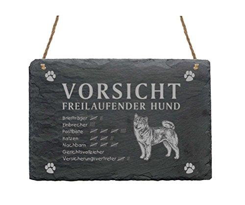 Schild Schiefer Spruch Shiba Inu Vorsicht Freilaufender Hund Türschild 22 x 16 cm