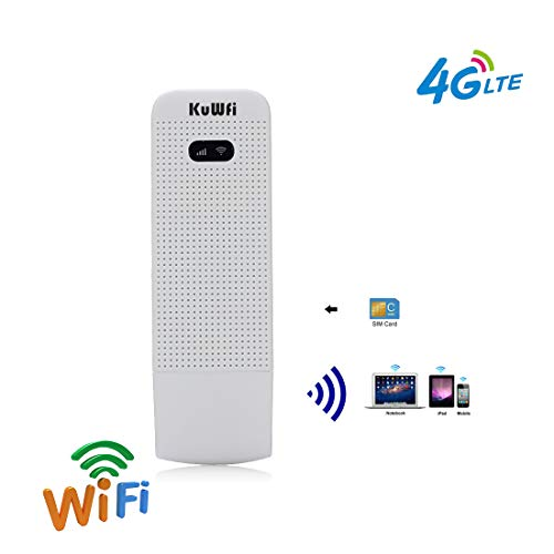 4G Router, KuWFi 100Mbps 4G LTE Router Wifi Móvil 4G / 3G / 2G Router USB WiFi Red inalámbrica móvil Hotspot Con Ranura para tarjeta SIM Soporte FDD B1 / B3 / B5 / B7 / B8 / B20 Al aire libre e interior en el autobús o en el coche (Tarjeta SIM no incluida, Necesidad de comprar en local)