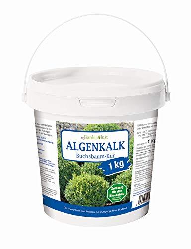 myGardenlust Algenkalk Buchsbaumretter 1 kg – Zulässig für den Bio-Anbau – Buchsbaum Kur - Feines Algen Kalk Pulver – Gartenkalk als Buchsbaumdünger