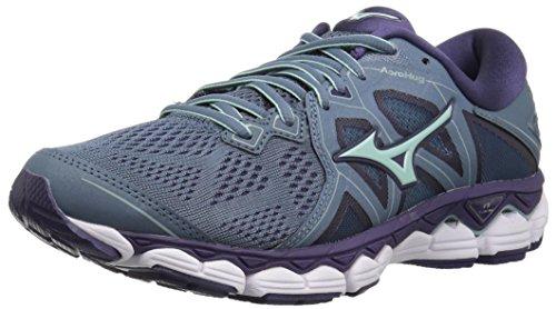 Mizuno Women's Wave Sky 2 Running Shoe, Blue Mirage/Purple Plumeria, 7.5 B US