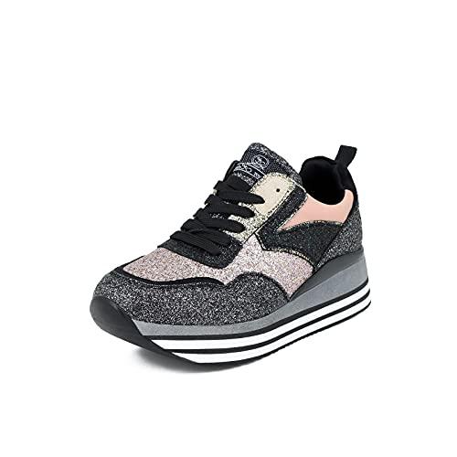QUEEN HELENA X25-43 - Zapatillas de gimnasia con purpurina para mujer, Rosa, 35 EU