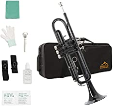 Eastrock Trumpet Brass Standard Bb Trumpet Set,Student Beginner with Hard Case, Gloves, 7C Mouthpiece, and Valve Oil (Black)