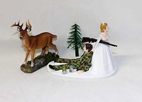 Humorous Camo Redneck Wedding Deer Hunter Hunting Cake Topper