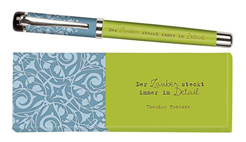 Moses libri_x Bolígrafo de tinta Jane Austen con mina intercambiable en una caja de regalo, color verde
