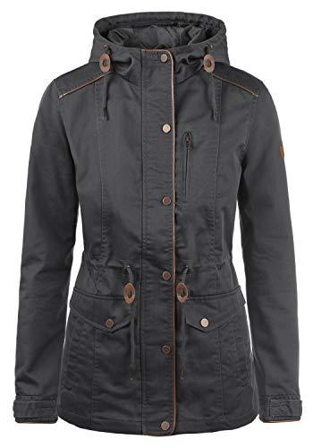 DESIRES Anja Damen Übergangsjacke Mantel Parka leichte Jacke mit Kapuze, Größe:S, Farbe:Dark Grey (2890)