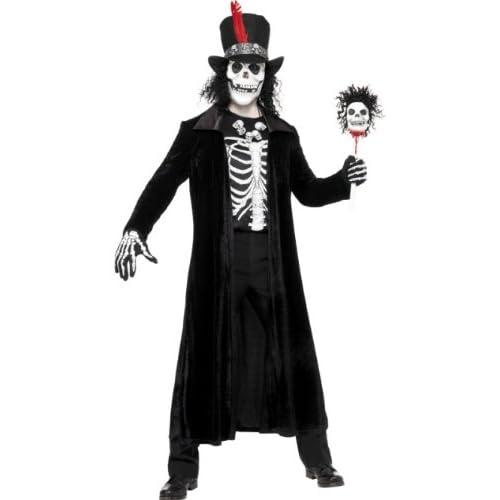 SMIFFYS Costume Vudù Uomo, Nero, comprende Giacca, Bastone, Cappello, Maschera e Collana