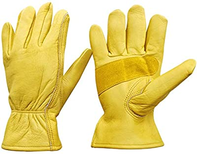 Leather Work Gloves Stretchable Wrist Tough Cowhide Safe Working Glove (1, Large)
