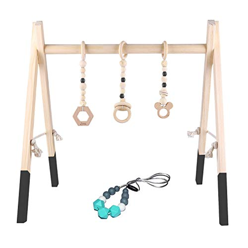 Wooden Baby Activity Gym,BPA Free Newborn Play Gym with 3 Mobile Toy and Silicone Teething Necklace for Newborn Gift