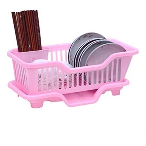 Inicio Drenaje Canasta Plato Chopsticks Lavado Titular de Almacenamiento Hogar Rack Cocina Fregadero Plato Drenador Organizador de secado con bandeja (Color : Pink front tray)