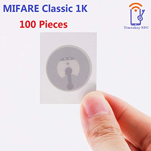 ISO14443A Klebendes NFC Aufkleber NXP MIFARE Classic 1K RFID NFC Tags Timeskey NFC Tag 25 mm Durchmesser Rund,13.56MHz (100 Stück)
