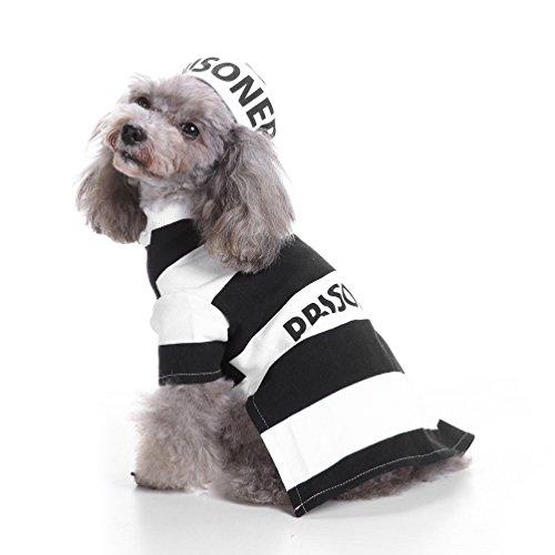 selmai Halloween Pet Puppy Gefangene Kostüm mit Hut, Pooch Party Cosplay Shirt für kleine Hunde Katze Fancy Coat Jacke Outfits Kleidung