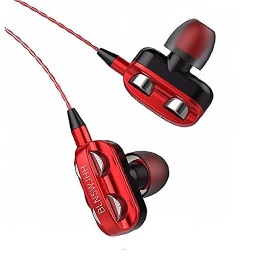 Maidi Auriculares con Cable Universal Auriculares Equipo de Audio Auriculares bajo Pesado de Dos transductores con Stereo Gaming Deportes Auriculares con micrófono de 3,5 mm Rojo