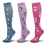 Fenglaoda Compression Socks for Women(15-25mmhg), Best Graduated Athletic Cute Fun Fit for Flight,Shin
