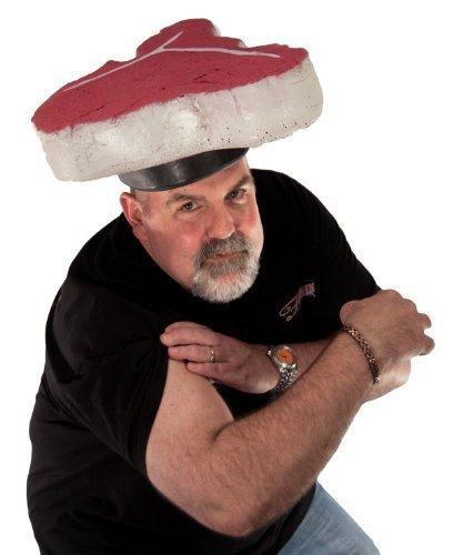 Trendy Men's Halloween Costume - T-Bone Steak Meat Head Cookout Hat (Made in USA)