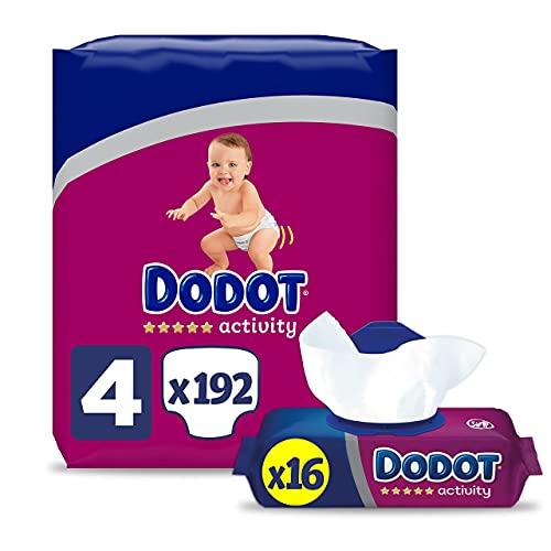 Dodot Pañales Bebé Activity Talla 4 (9-14 kg), 192 Pañales con Ajuste Más Resistente + Toallitas Activity, 16 Paquetes (16x54), Recuperan el pH Natural de la Piel