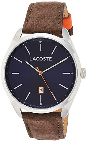 Lacoste Men's San Diego Stainless Steel Quartz Watch with Suede Strap, Brown, 22 (Model: 2010910)