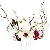 Beaupretty diadema de flores corona de asta de reno corona de flores diadema para niñas nupciales mujeres boda fiesta de navidad accesorios para el cabello