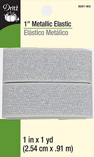 Dritz 9397-WS Metallic Woven Elastic, 1-Inch x 1-Yard, White & Silver