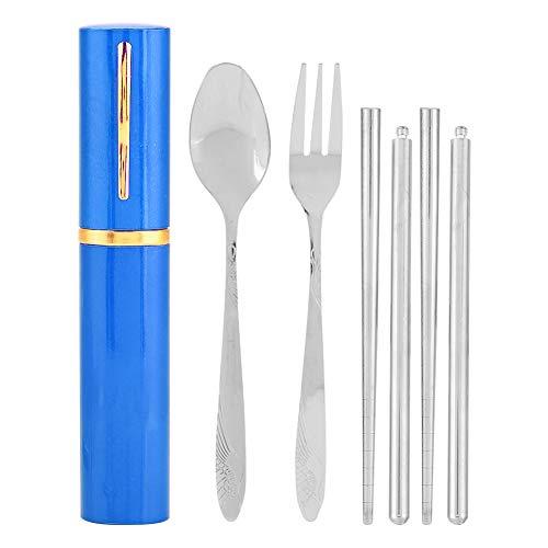 Set di Posate, Portatile Acciaio Inox Bacchette Cucchiaio Forchetta Dinnerware Set con Deposito Custodia per Viaggio Campeggio All'aperto e Altre attività 3 Pezzi/Set Utensilis(Azul)