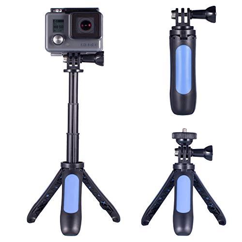 Homeet - Trípode para cámara de acción, 2 en 1, Compacto con Palo Extensible para Selfies, Compatible con cámaras Deportivas GoPro/SJCAM/Akaso/Garmin Virb/DBPOWER/YI/QUMOX/Rollei