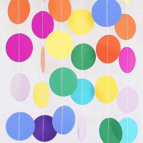 67ft 5 Pack colorful circles Dots Garland Party Decorations Hanging Rainbow Banner Paper Polka Dots confetti garland for Birthday Party Wedding, Baby Shower,New Year,Christmas,Classroom Decorations