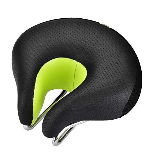 Zerone- Fahrradsattel, ohne Nase, Fahrradkissen, U-Form, bequemer Fahrradsitz, grün