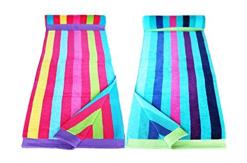 Restmor Strandtücher 100% Baumwolle - 2 Stück für Sie & Ihn - Multistreifen Blau & Multistreifen Pink