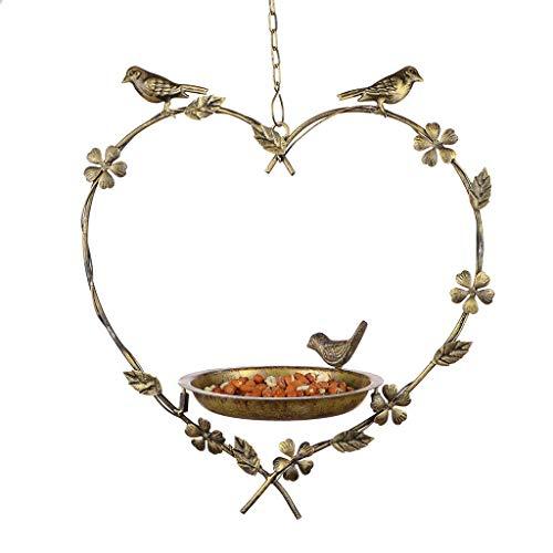 Dibor Bird Feeder Dish Vintage Hanging Heart Garden Accessory