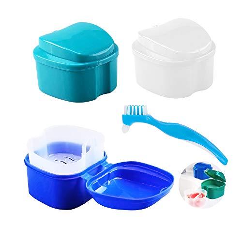 4 Stück Zahnprothesen box Gebissdose Zahnspangendose mit Prothesenreinigungsbürste (3+1), AUHOTA zahnspangen reinigungsdose Aufbewahrungsbox für Prothesen mit Sieb zur Travel Retainern (3 Farben)