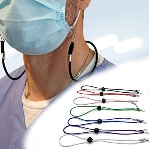 Umhängeband, verstellbare Länge, praktischer Gesichtsschutz-Halter, Verlängerungsclip, Seil-Aufhänger um den Hals (7 Stück)