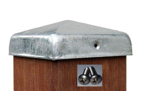Pfostenkappe feuerverzinkt Pyramide für Pfosten 9x9 cm inkl. VA-Schrauben Zaunkappe Pfahlkappe