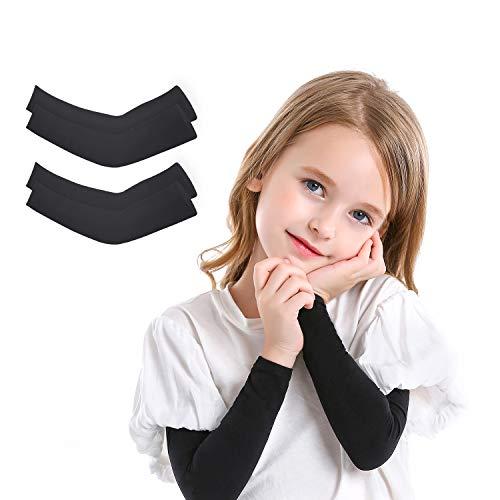 2 oder 4 Paar UV-Sonnenschutz Arm Sleeves für Kinder, UPF 50 Armabdeckung für Jungen & Mädchen Radfahren, Golf, Outdoor-Sport - Schwarz - Small