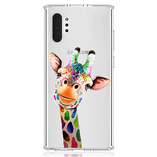 HUIYCUU Case Compatible with Galaxy Note 10+ Plus/Pro Case, Cute Animal Pattern Slim Fit Soft TPU Protective Cover Clear Design Funny Novelty Bumper Back Case for Samsung Galaxy Note 10 Pro, Giraffe