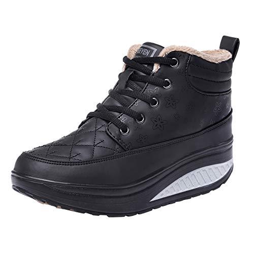 manadlian Bottine Hommes Hiver Chaussures de Neige Boots Fourrees Mode Courts avec Doublure Chaude Basket Coton Shoes Cuir Sneakers Cheville Plates Bottes 2020