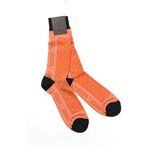 Alto Milano Premium Herren Socken, Orange, Paisley Business Socks, Made in Italy (43-45)