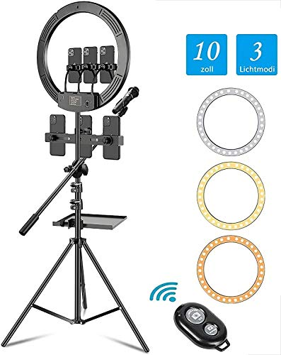 LED Ring Light with Tripod Stand,Six Mobile Phone Clips,Sound Card,Sound Card Tray,21 Inch Dimmable Halo Light with 3 Color Modes and 10 Brightness, Phone Hose