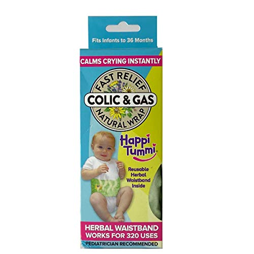 Happi Tummi Baby Gas Relief All Natural Belly Wrap Natural Herbal Aroma Therapy Relief For Infants and Babies with Colic, Gas,Upset Tummies Blue Plush, Packaging May Vary