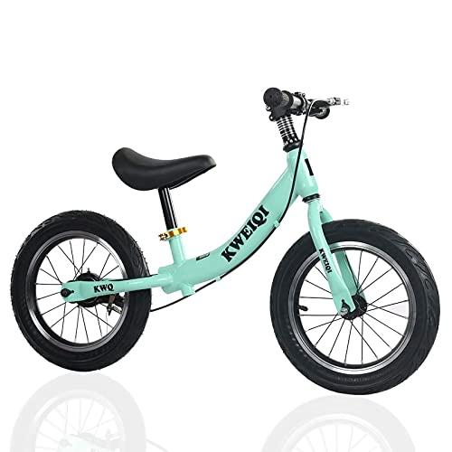 DFBGL 14 & # 34;Bicicleta de Equilibrio con Freno, Bicicleta Liviana para niños y niñas de 3 a 7 años, Primera Bicicleta para niños sin Pedal, sillín de Altura Ajustable 39-50 cm, Verde