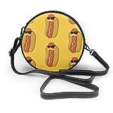 naotaori Bolso redondo mujer Women's Round Vegan Leather Crossbody Satchel Shoulder Bag Hot Dog With Moustache Sunglasses Circle Tote Hobo Bag For Women Sling Bag