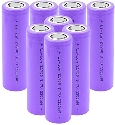 3.7V 5200Mah Batería De Iones De Litio 21700 Celda De Iones De Litio Recargable De Alto Drenaje para Torch-8Pcs