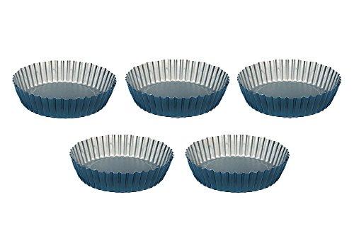 Tart Pan Lot de 5 domestiques - 12cm Moules à tartelettes revêtement antiadhésif - Design Mini moules à tartelette forme et Tartelette Idéal pour quiche Fruits Mini