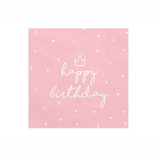 PartyDeco SP33-15-081J Servietten Happy Birthday Rosa