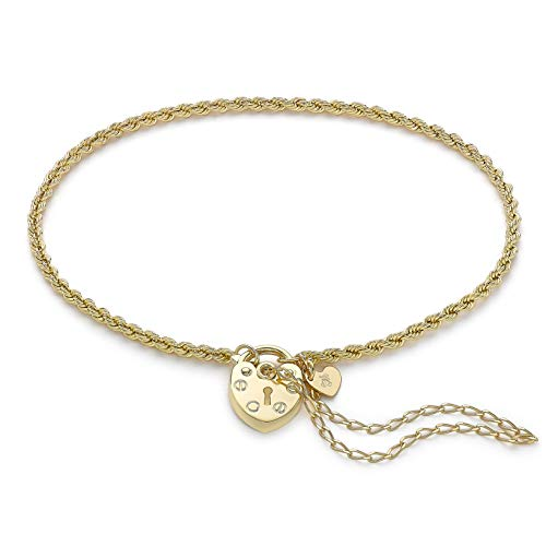 Carissima Gold Women's 9ct Yellow Gold Rope Chain Padlock and Safety Chain Bracelet - 19cm/7.5'
